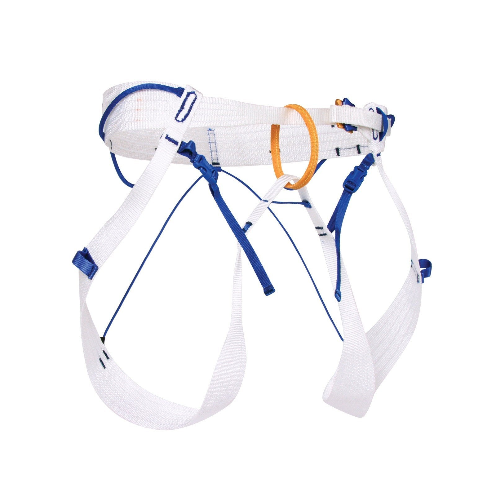 Blue Ice Choucas Harness, front view in grey, blue and orange colours