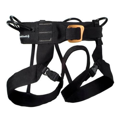 Black Diamond Alpine Bod harness, front/side view in black colour