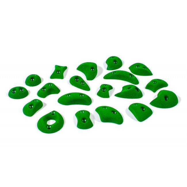 Bleaustone Training Range Classic Screw-On climbing holds, showing 18 pieces in green colour