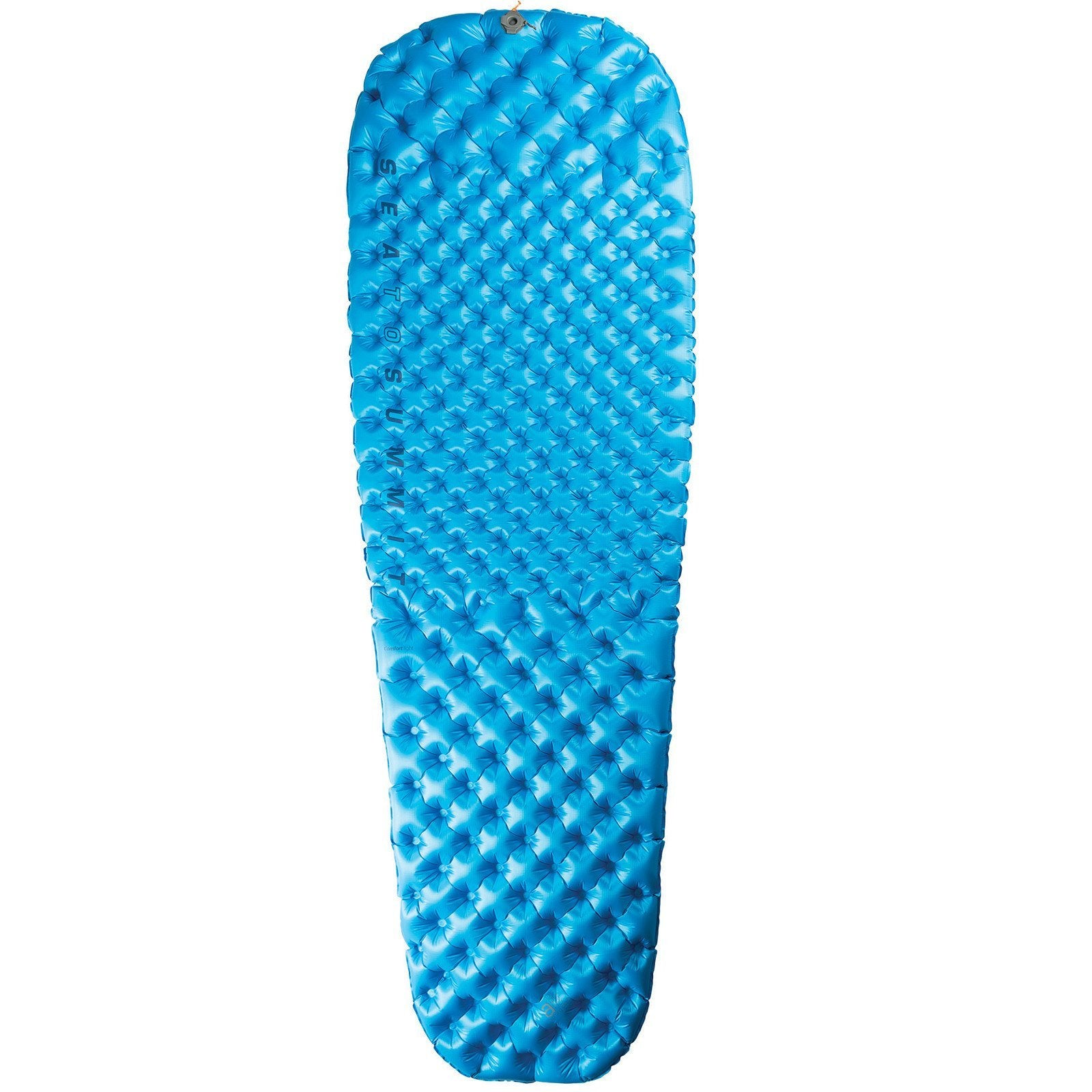Sea to Summit Comfort Light camping Mat, shown inflated and laid flat, in blue colour