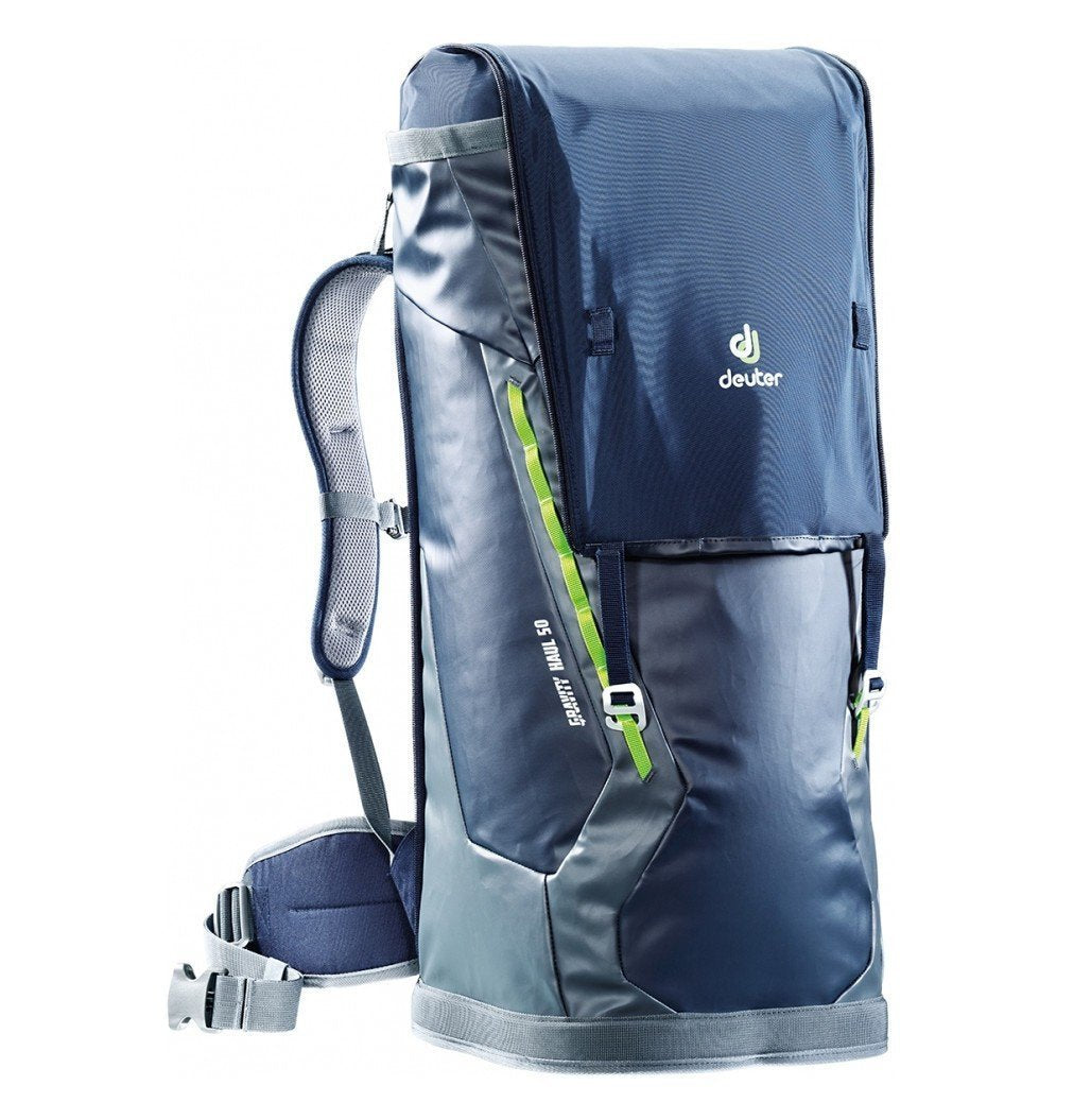 Deuter Gravity Haul 50 rucksack in black, grey and green colours