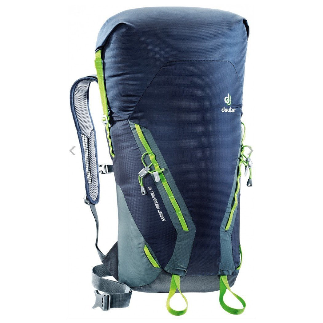 Deuter Gravity Rock and Roll 30 rucksack, in black, grey and green colours