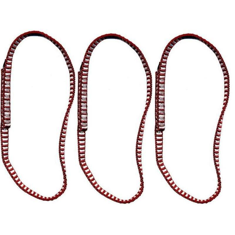 DMM Dyneema climbing Sling 11mm x 30cm 3 Pack, shown side by side in red/white colour