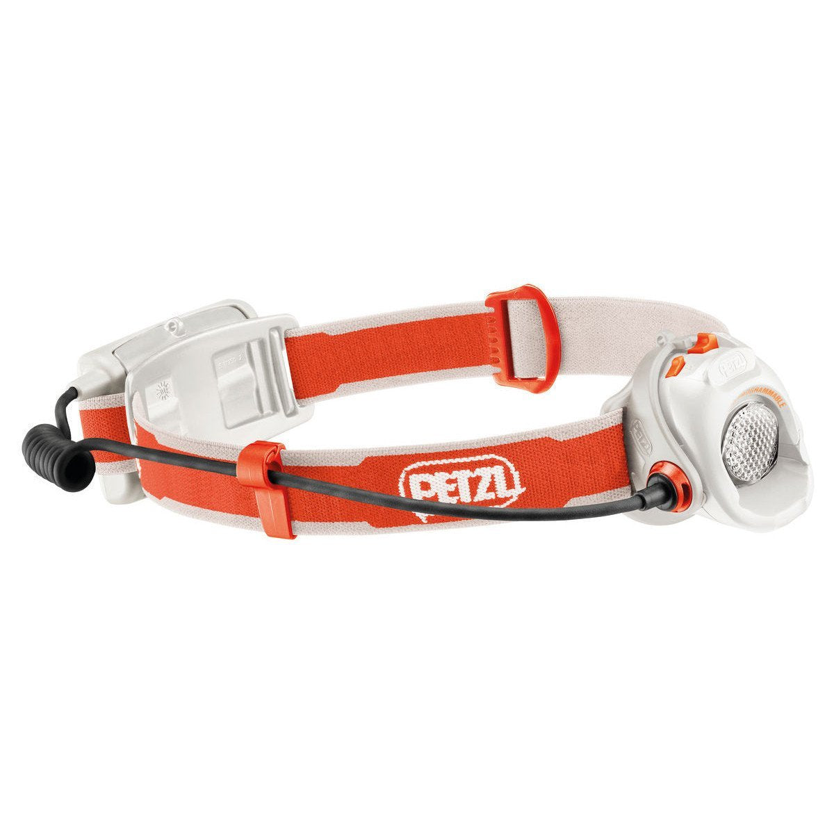 Petzl Myo Head torch, side view in white and orange colours