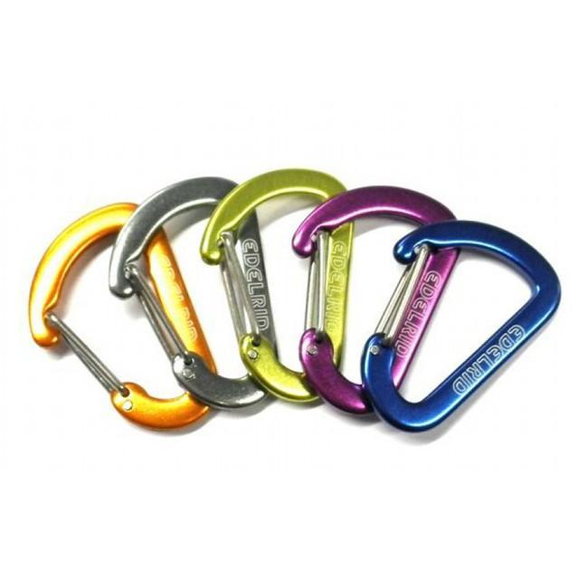 Edelrid Aranya Accessory Carabiners, showing multicoloured range in gold, silver, green, purple
