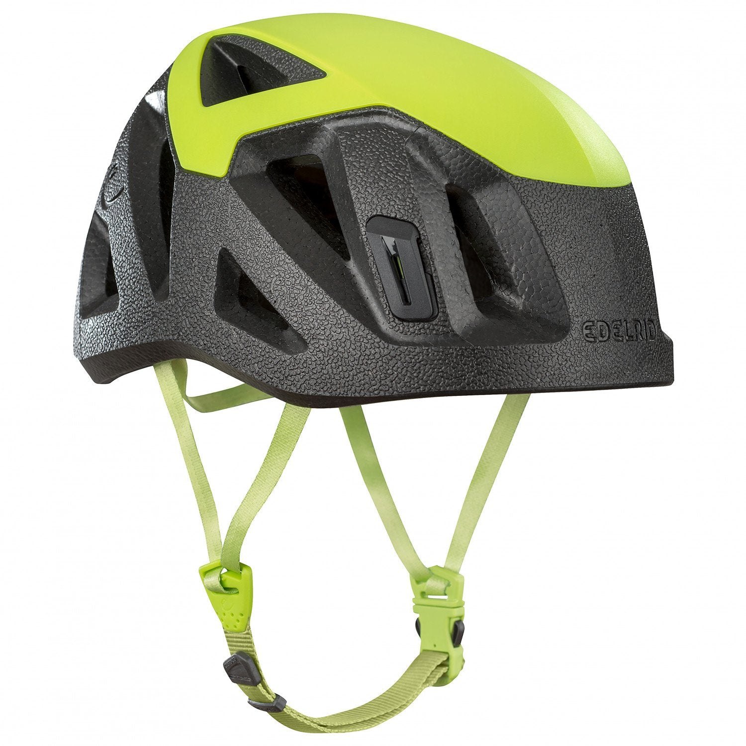 Side of Edelrid Salathe Helmet in Black & Green colours