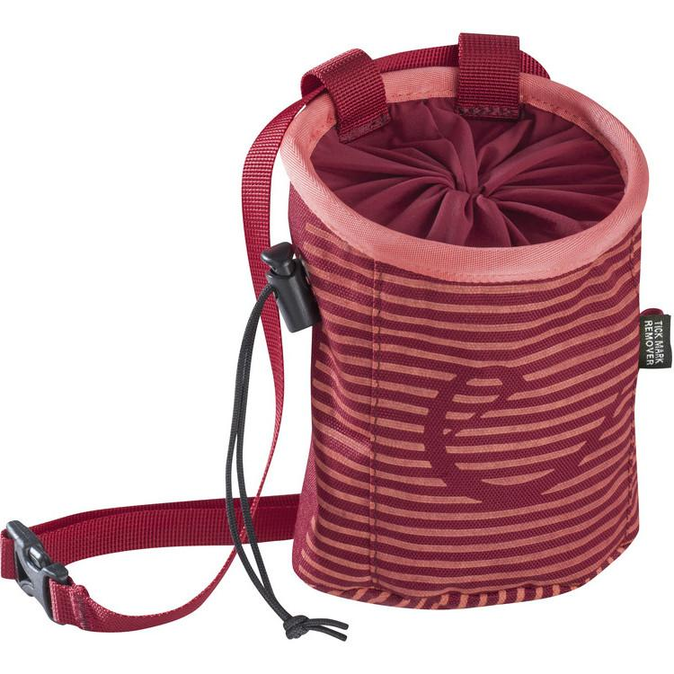 Edelrid Rocked Lady Chalk Bag stripes in amber colour as seen from the front displaying Edelrid logo