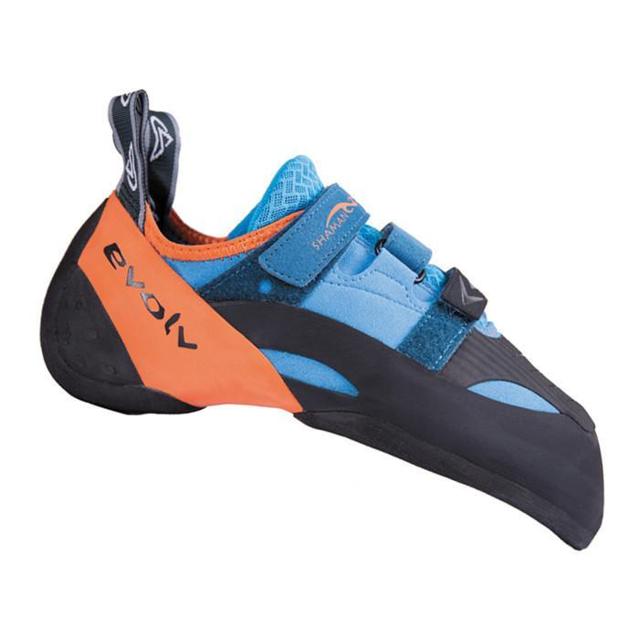 Evolv Shaman climbing shoe, in black, blue and orange colours
