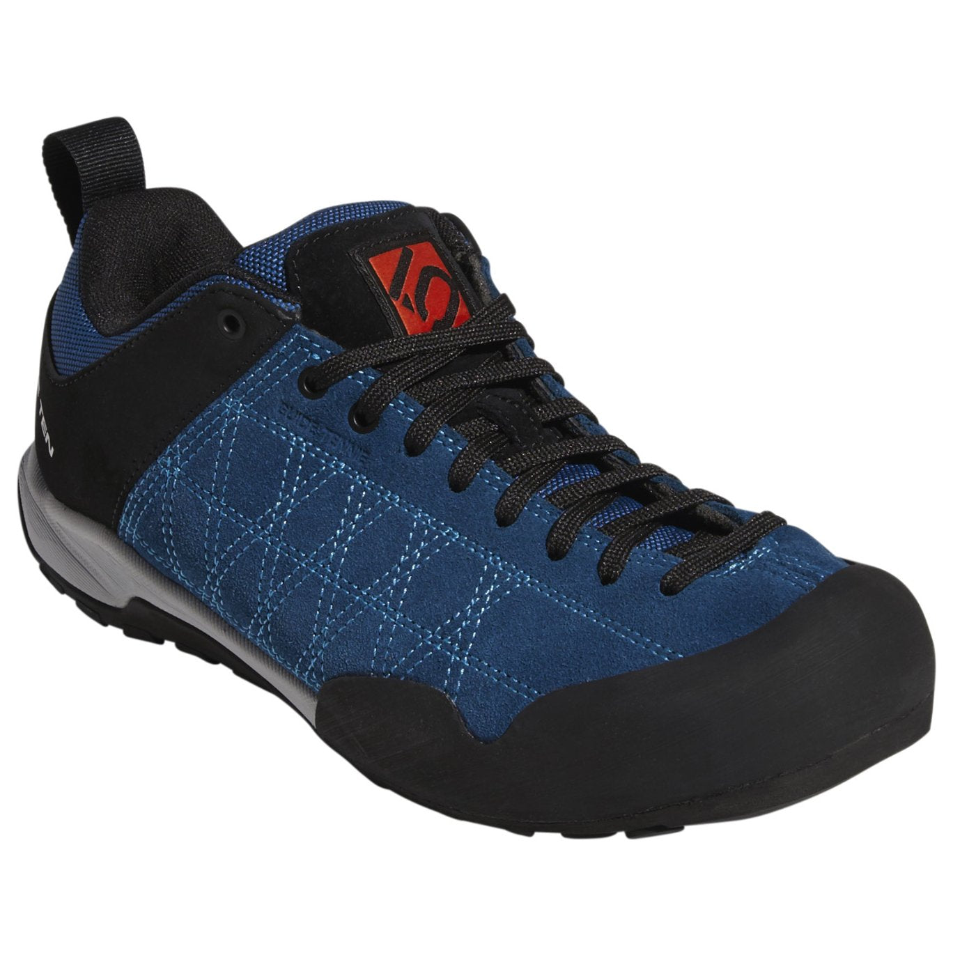 Five Ten Guide Tennie Womens approach shoe, front/side view in blue/black colours