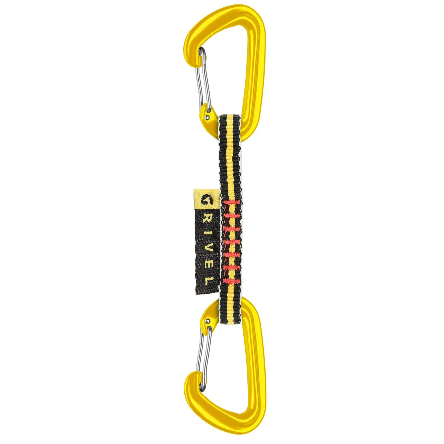Grivel 55 Quickdraw 11cm, with a black and yellow sling and yellow carabiners