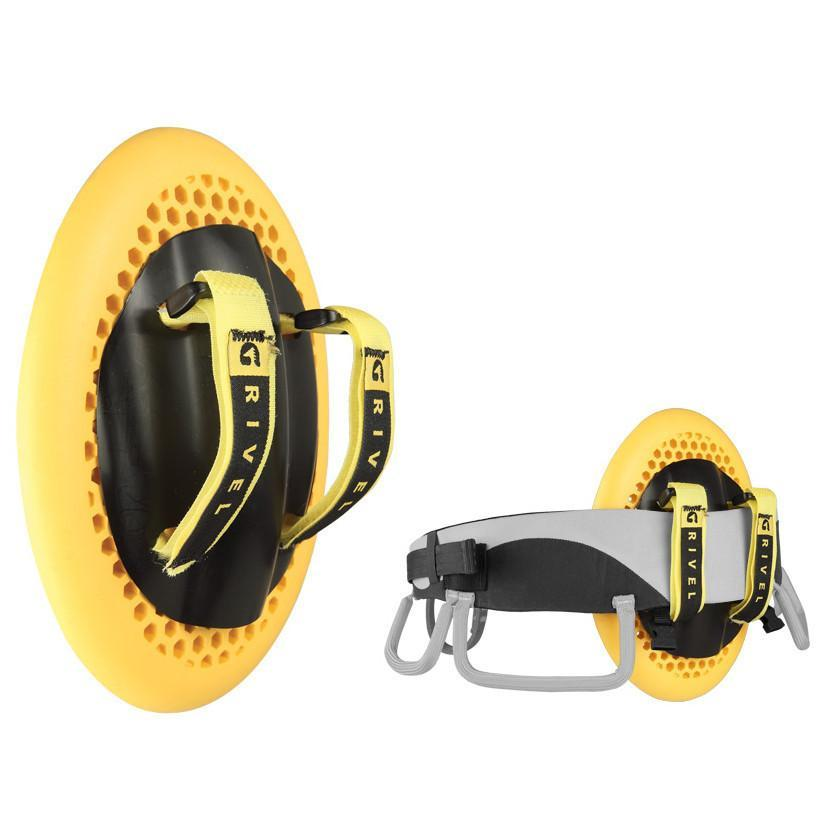 Grivel Shield shown on its own and attached to a climbing harness, in yellow and black colours