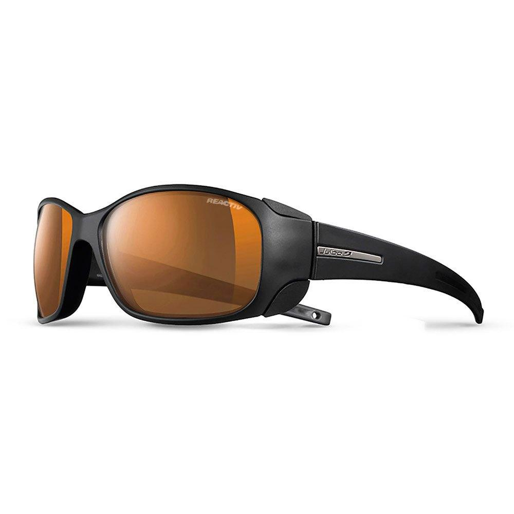 Front view of Julbo Monterosa Cameleon in black with orange tinted lenses.