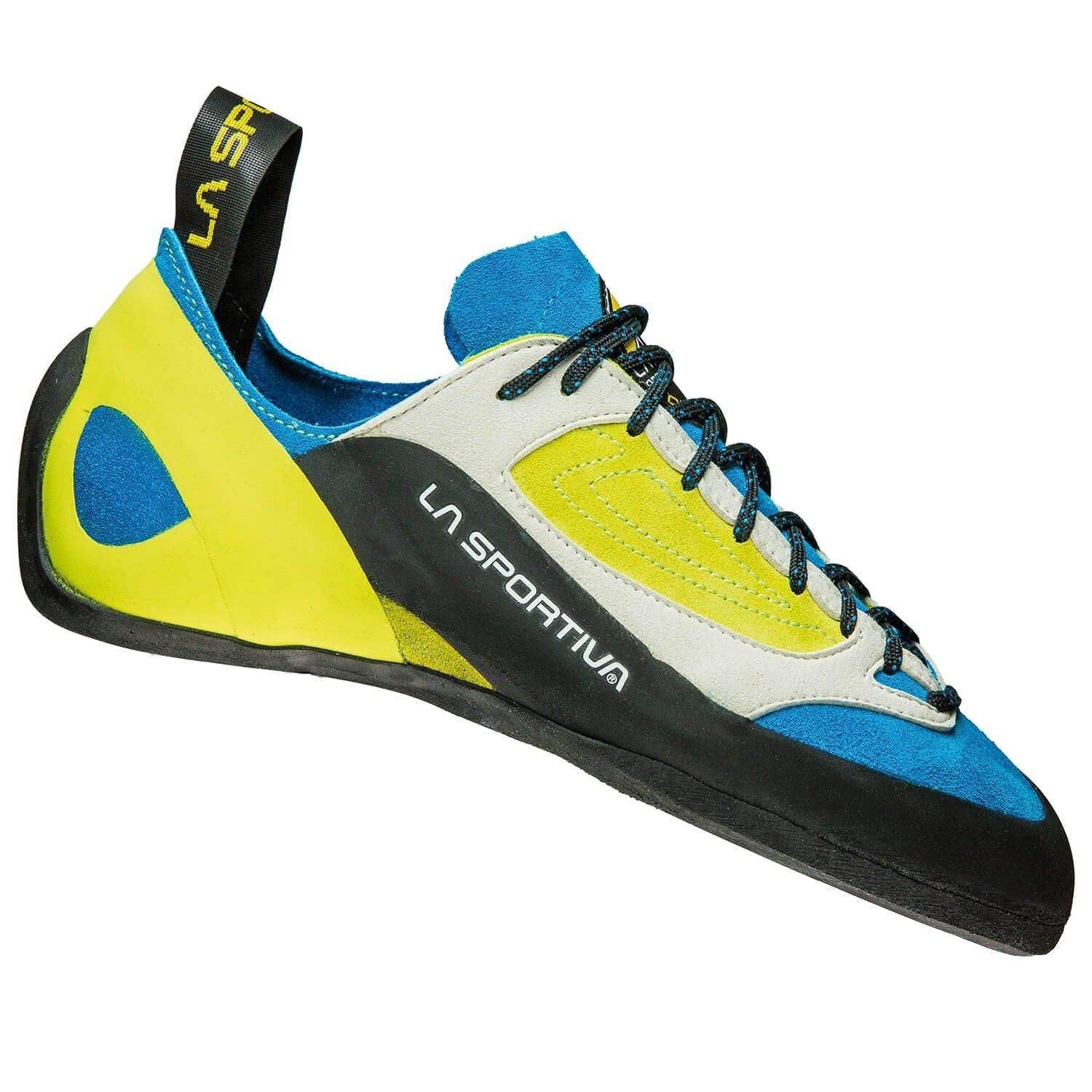 La Sportiva Finale climbing shoe, in black, blue and yellow colours