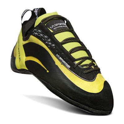 La Sportiva Miura climbing shoe, in black and Lime colours