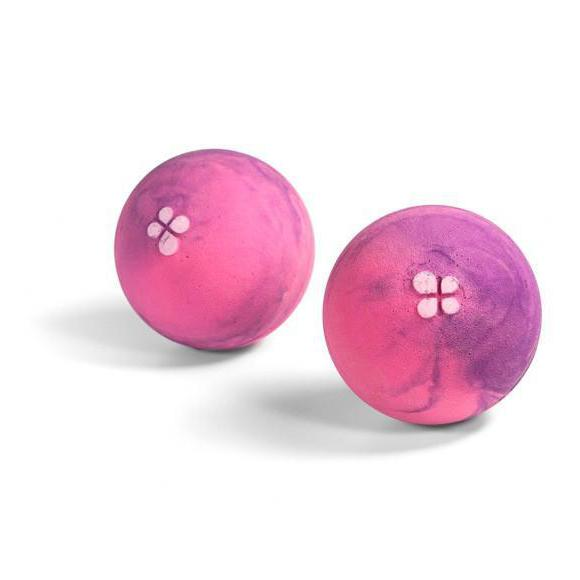 Lapis Rollyballs (XL), pair shown side by side in pink/purple colours