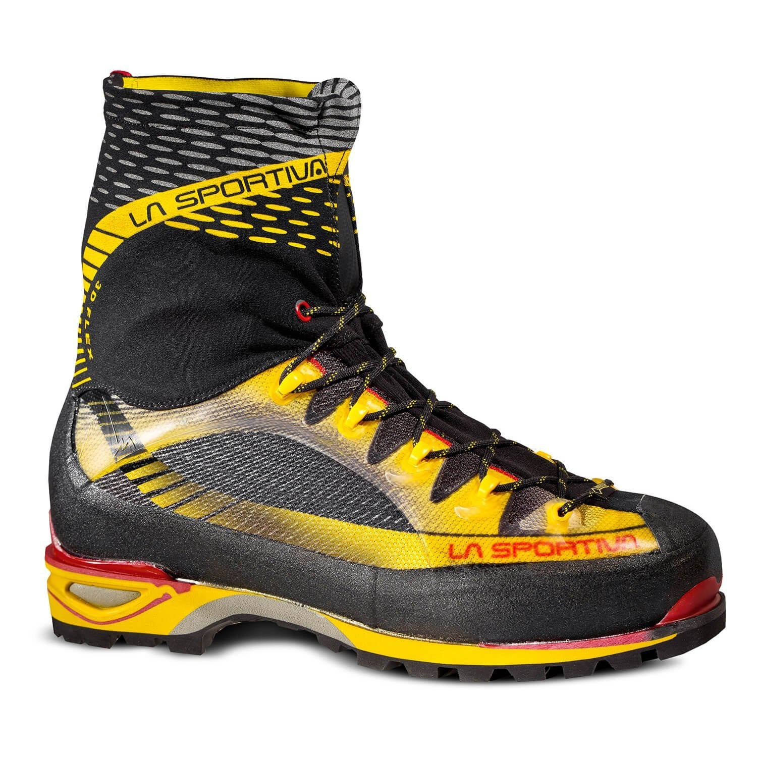 La Sportiva Trango Ice Cube Mountaineering Boot, in black, yellow and red colours