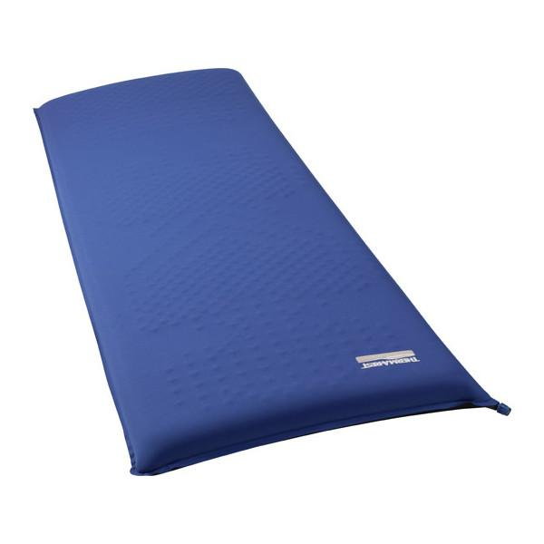Thermarest LuxuryMap XL camping mat, shown inflated and laid flat, in blue colour