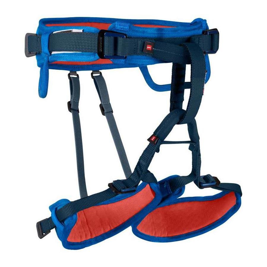 Mammut Ophir Kids Harness, front/side view, in blue, black and red colours