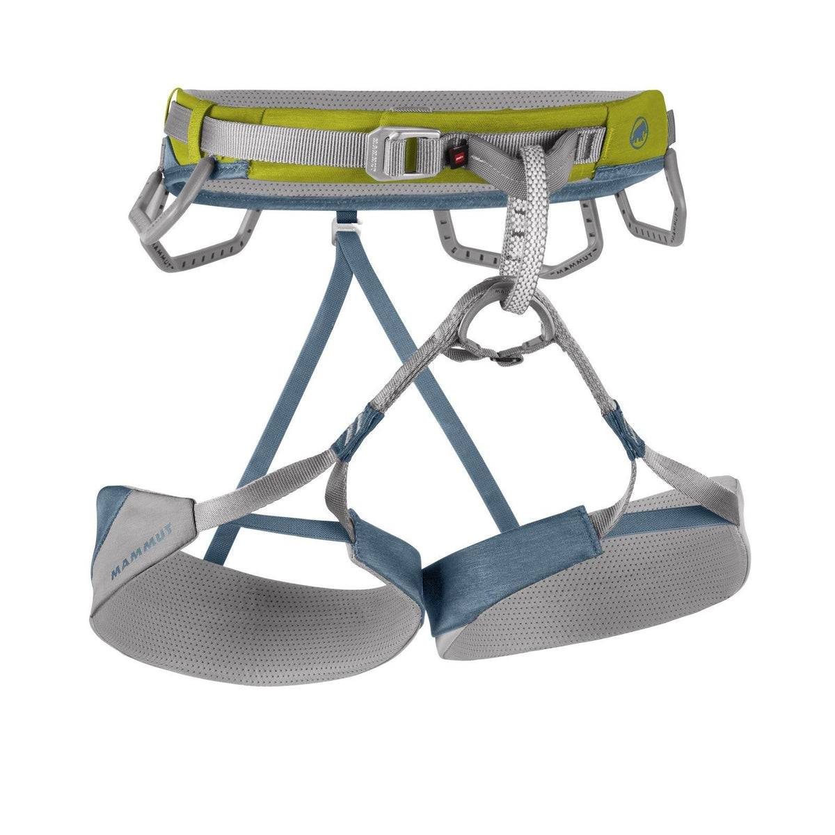 Mammut Togir Harness, front view, in green, grey and blue colours
