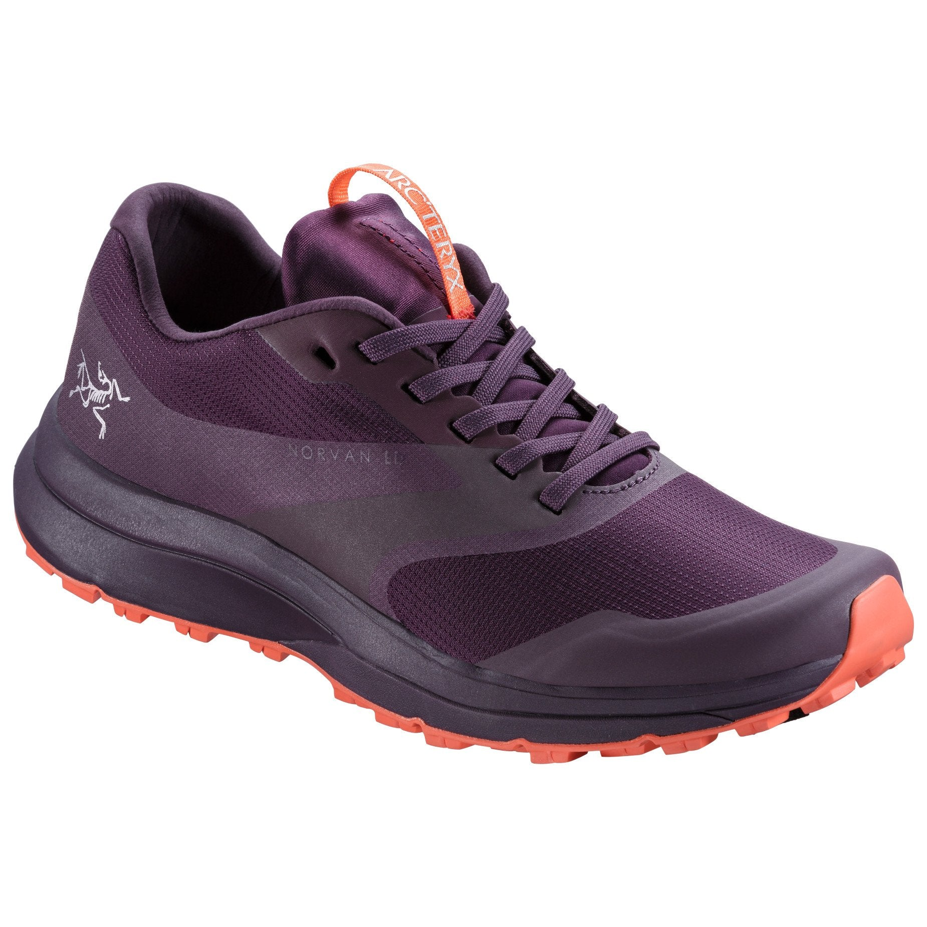 ArcTeryx Norvan LD Womens trail running shoe, outer side view, in deep purple colour