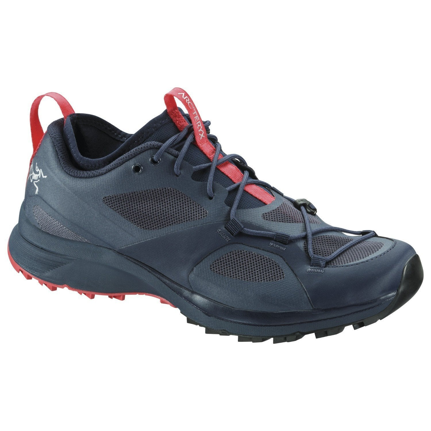ArcTeryx Norvan VT Womens trail running shoe in blue/grey colours, outer side view