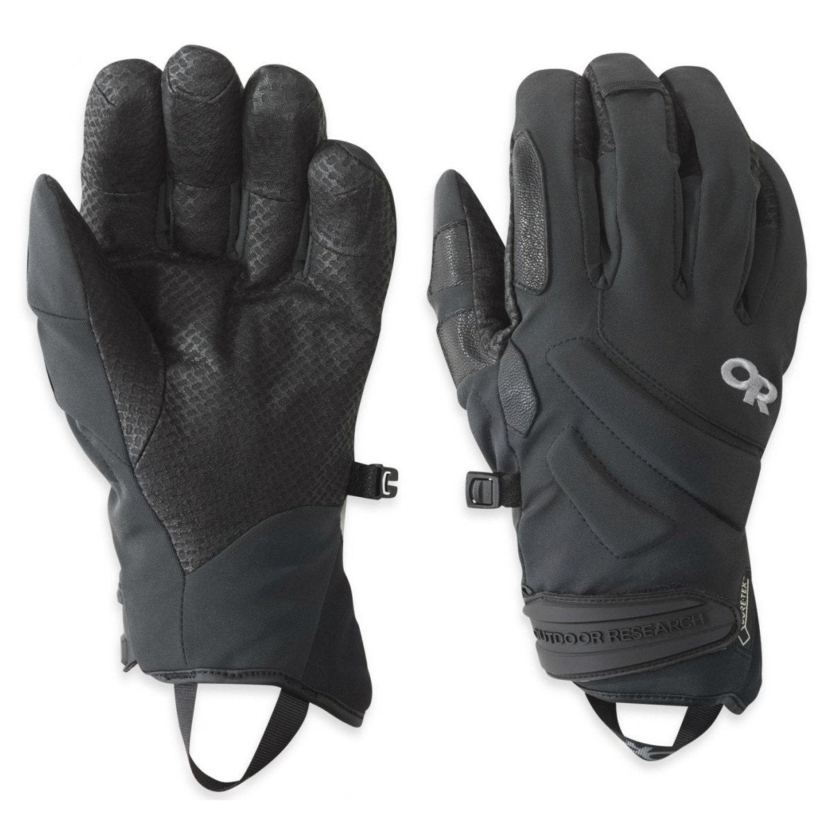Pair of Outdoor Research Project Gloves in Black, showing front and reverse