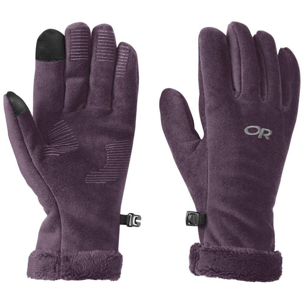 Pair of Outdoor Research Fuzzy Sensor Gloves Womens, in Plum colour showing front and reverse
