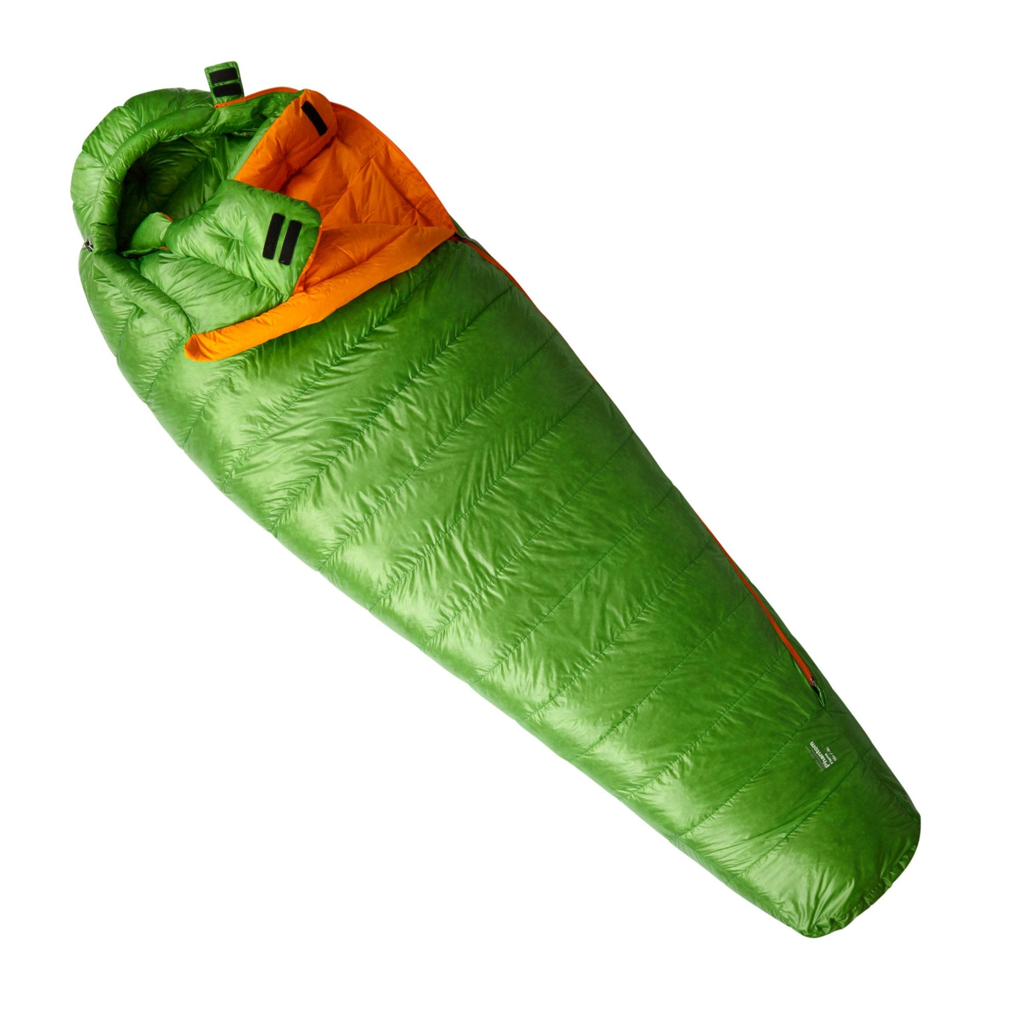 Mountain HardwearMountain Hardwear Phantom Flame sleeping bag shown closed, laid flat in green color
