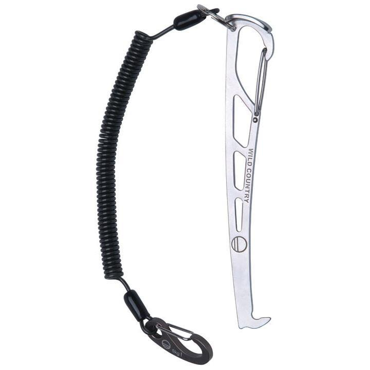 Wild Country Pro Key, silver climbing nut tool with black leash