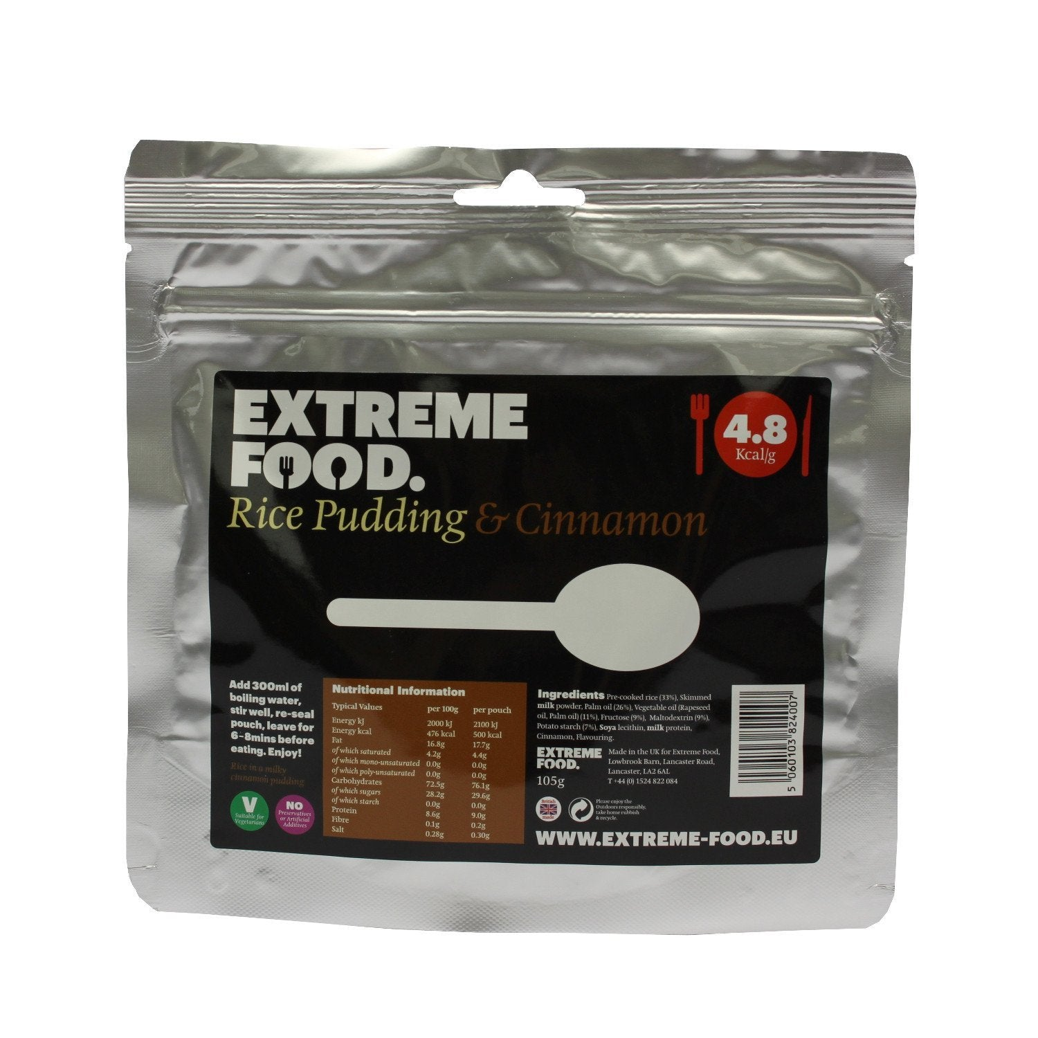 Extreme Food Rice Pudding & Cinnamon, dried expedition food pack