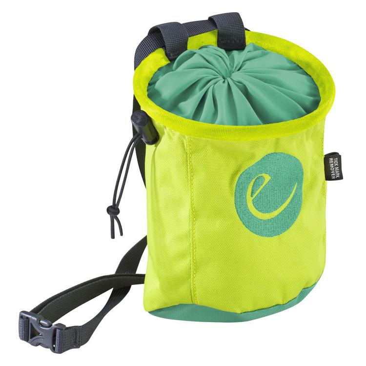 Edelrid Rocket Chalk bag in Oasis colour as seen from the front demonstrating Edelrid logo.