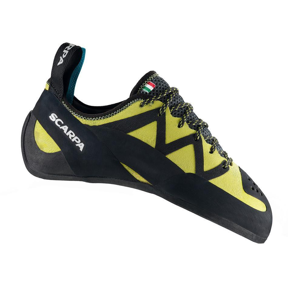 Scarpa Vapour Lace climbing shoe, in black and green colours