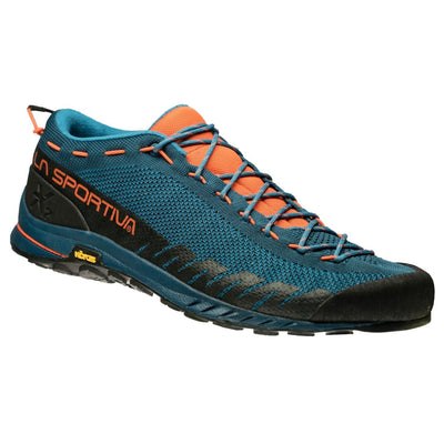 La Sportiva TX 2 Approach Shoe, in blue and orange colours, showing outer side view