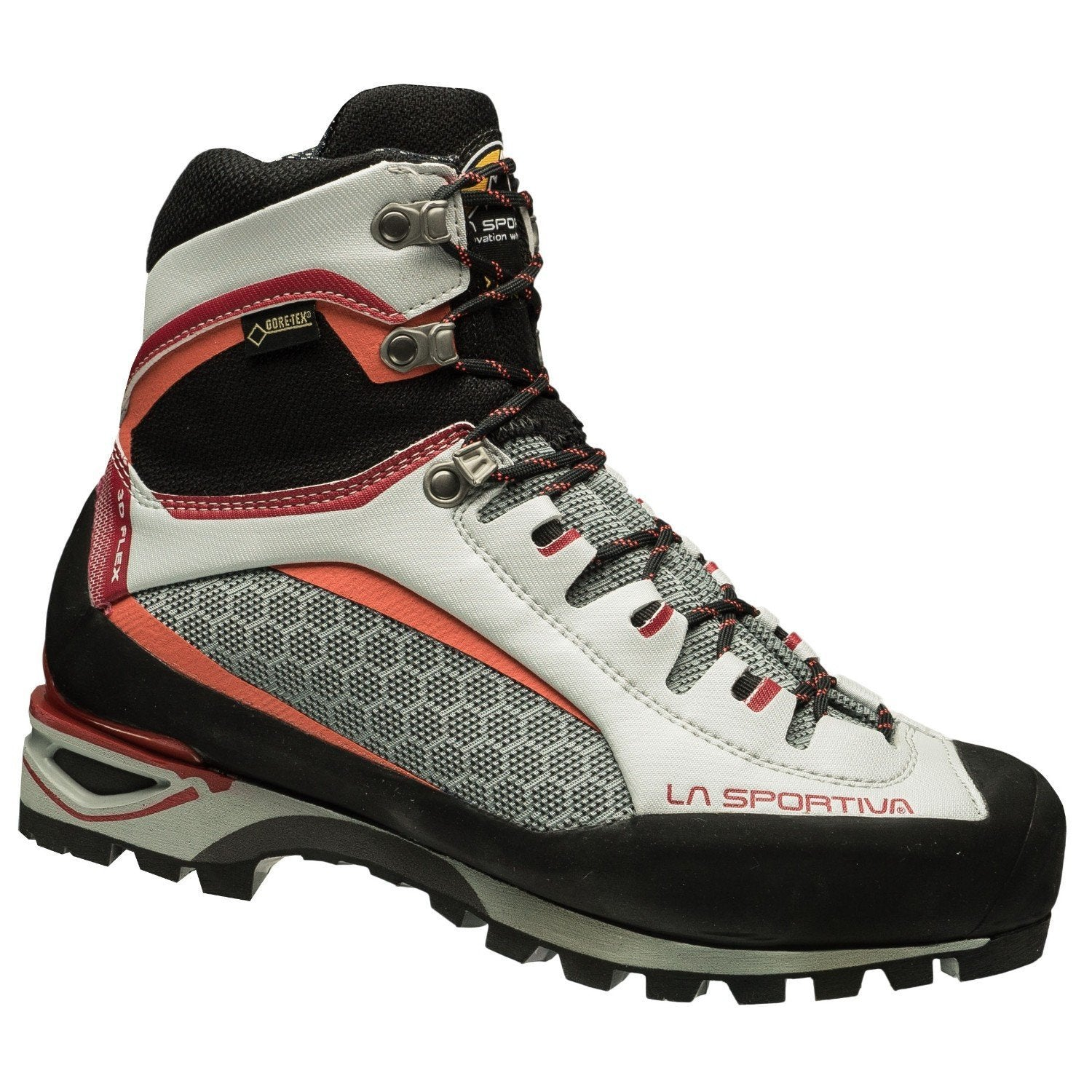 La Sportiva Trango Tower GTX Womens mountaineering boot, in black, grey and red colours