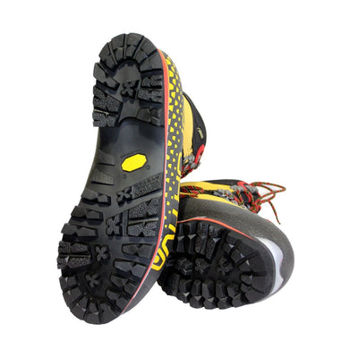 Pair of La Sportiva Nepal Cube GTX Mountaineering Boots, showing the sole view