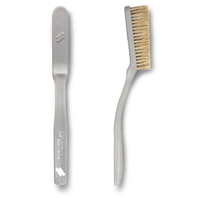 Pair of Sublime Climbing Slimline Boars Hair Brushes, showing reverse and side view, in grey colour