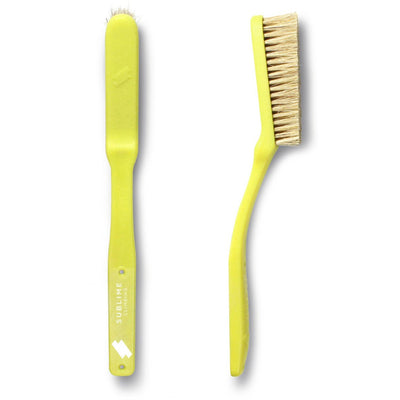Pair of Sublime Climbing Slimline Boars Hair Brushes, showing reverse and side view, in yellow