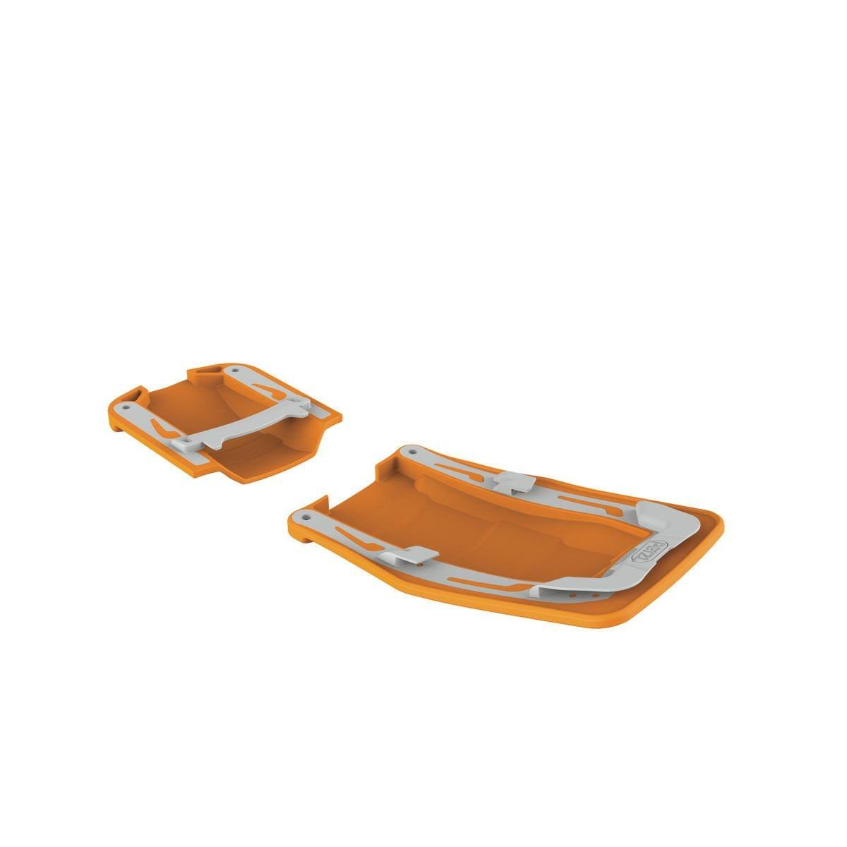 Petzl Vasak/Sarken Antisnow (AB Plates), shown as a pair, side by side in orange colour