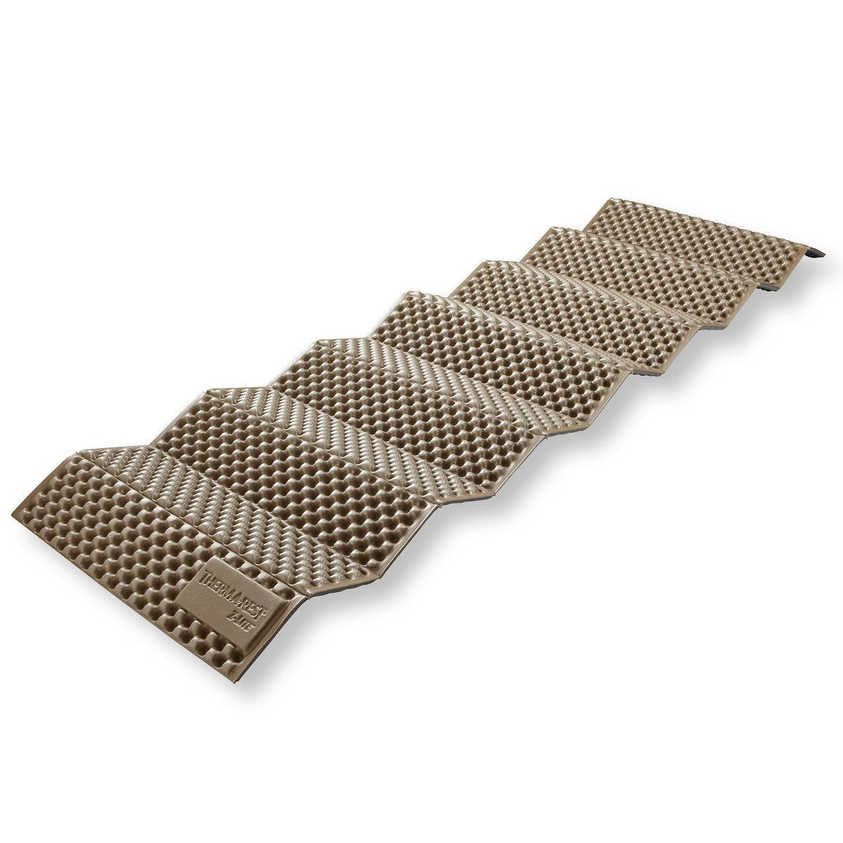 Thermarest Z Lite Regular camping mat, shown partially extended in brown colour