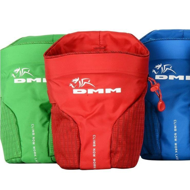 3 DMM Trad climbing Chalk Bags, side by side in various colours