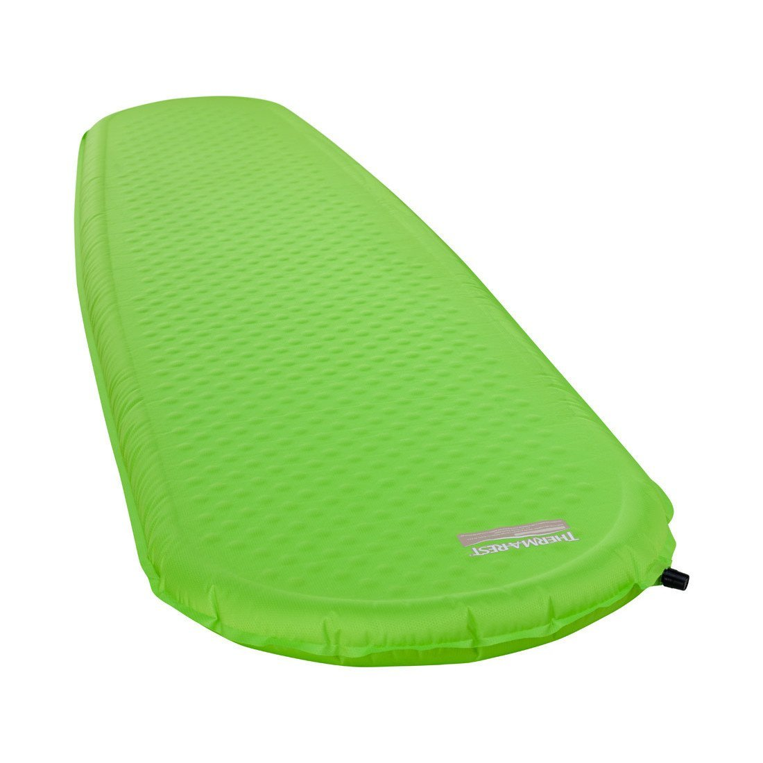 Thermarest Trail Pro Regular Wide camping mat, shown inflated and laid flat in green colour