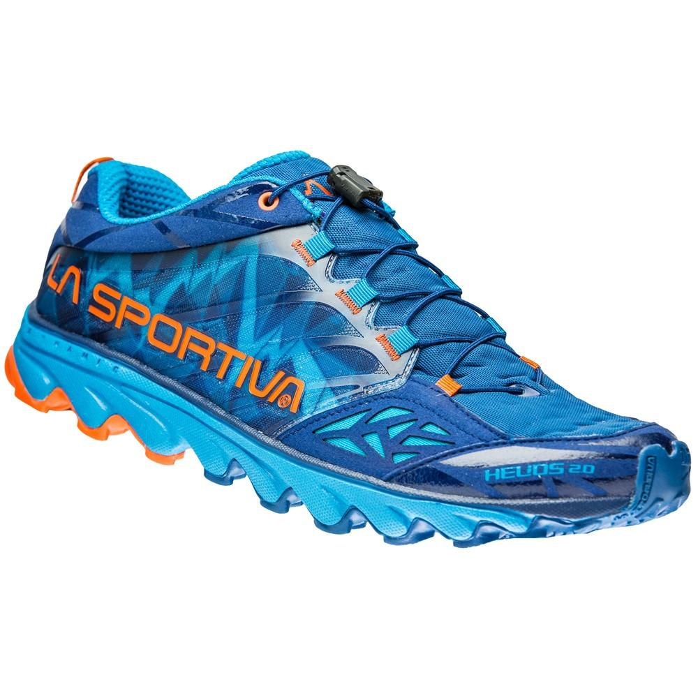 La Sportiva Helios 2.0 trail running shoe, outer side view in blue and orange colours