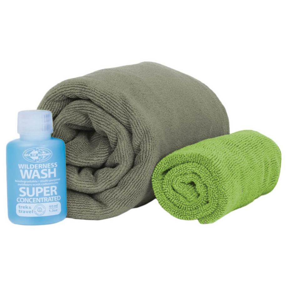 Sea to Summit Tek Towel Medium Wash Kit, showing towels rolled up with soap bottle