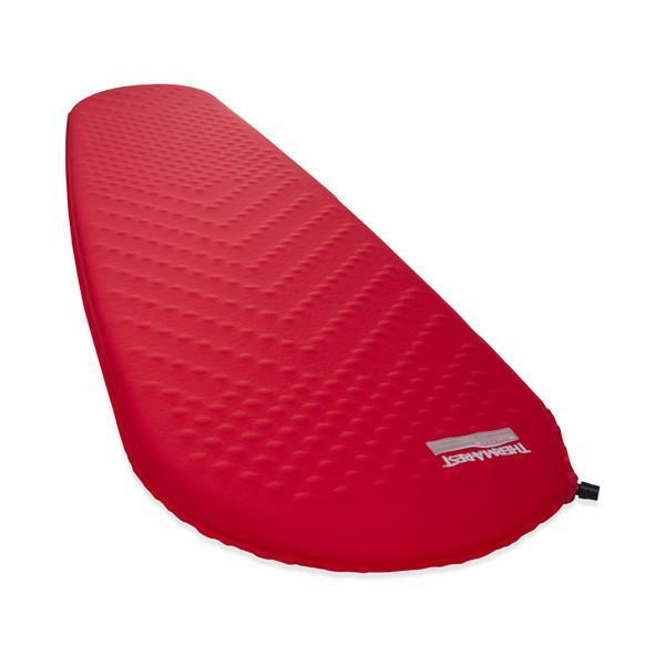 Thermarest Prolite Plus Womens camping mat, shown inflated and laid flat, in red colour