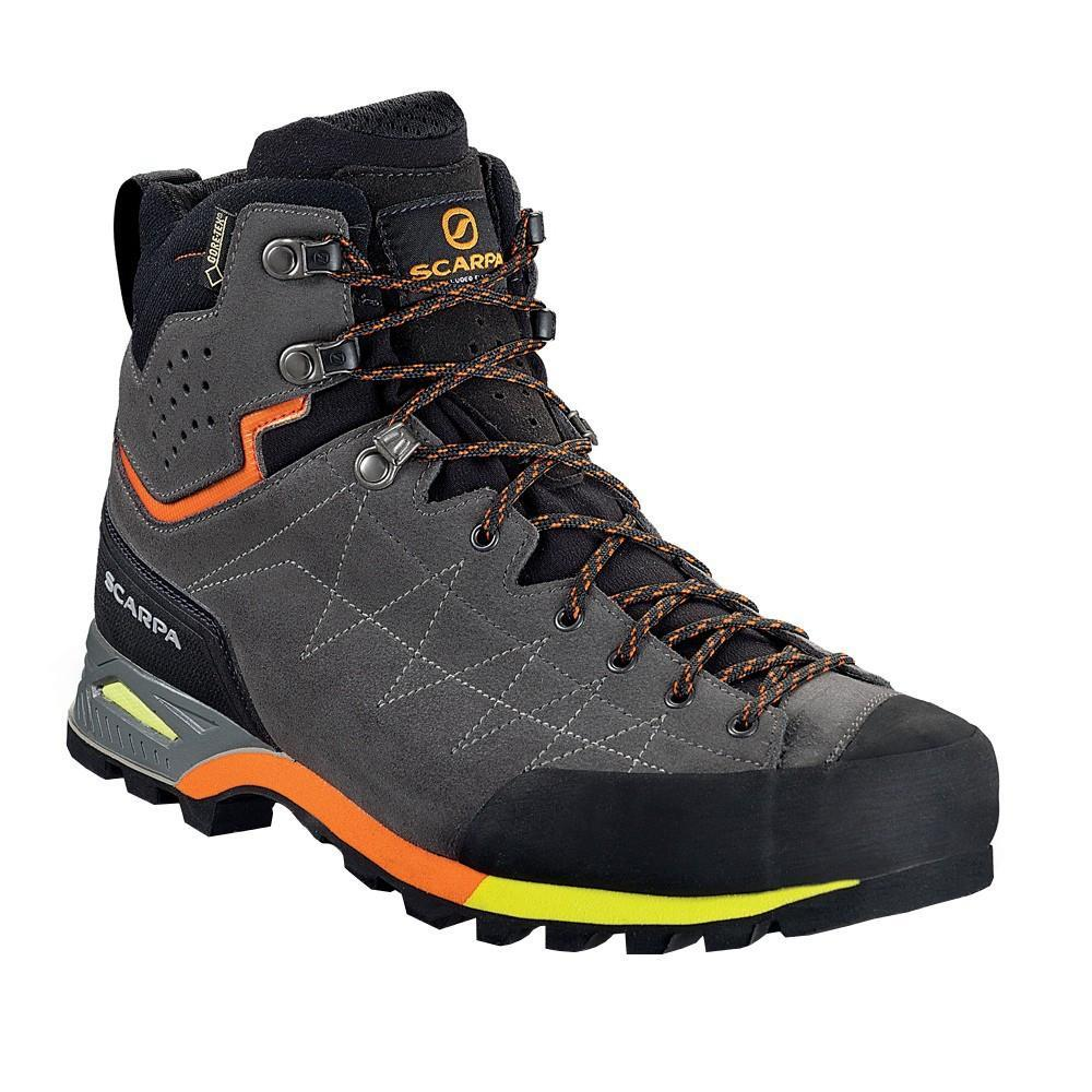 Scarpa Zodiac Mid GTX Approach Shoe in grey and black, outer side view in grey, black and orange