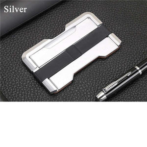 Aviation Aluminum+PU RFID Security Thin Metal Card Wallet Mini Money Clip