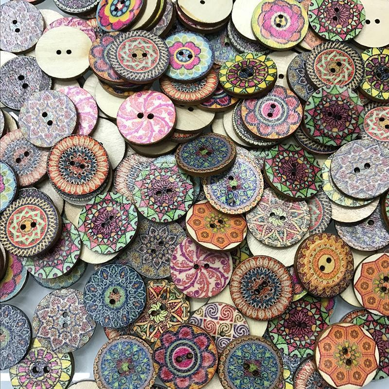 100pcs DIY Round Colorful Bohemia Buttons