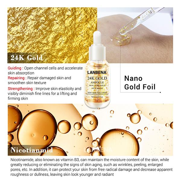 24K Gold Anti-Wrinkle Whitening Essence - Solve 99% Of Skin Problems