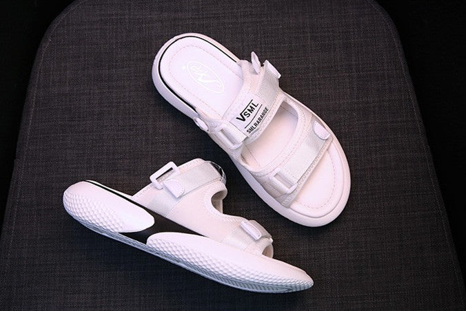 Ins super fired old shoes thick bottom Velcro two wearing sandals and slippers flat.