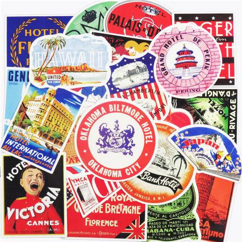 Retro Hotels Stickers Pack For Luggage And Suitcases